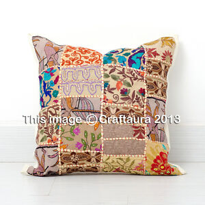 24X24 Extra Large Pillow Cover Vintage Embroidered Decor Throw Pillow C