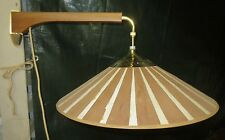 VINTAGE MID CENTURY COUNTER BALANCE SWING ARM TEAK FIBERGLASS PULL DOWN  LAMP