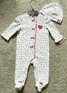"""Little Me NWT Infant Baby Girl """"My First Christmas"""" Outfit Hat 6m"""