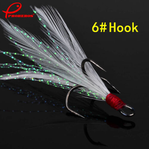 Lot 20pcs Fishing Hooks Treble With Feather For Minnow Fishing Lures Crankbaits