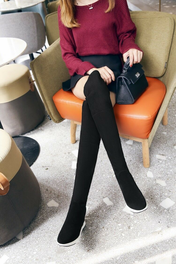 Women Round Round Round Toe Over The Knee Boots Suede Ladies New  Pull On Knight Winter shoes ba1de6