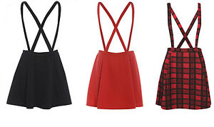 NEW-WOMENS-PLAIN-BRACE-DUNGAREE-LADIES-SKATER-SKIRT-TARTAN-8-10-12-14