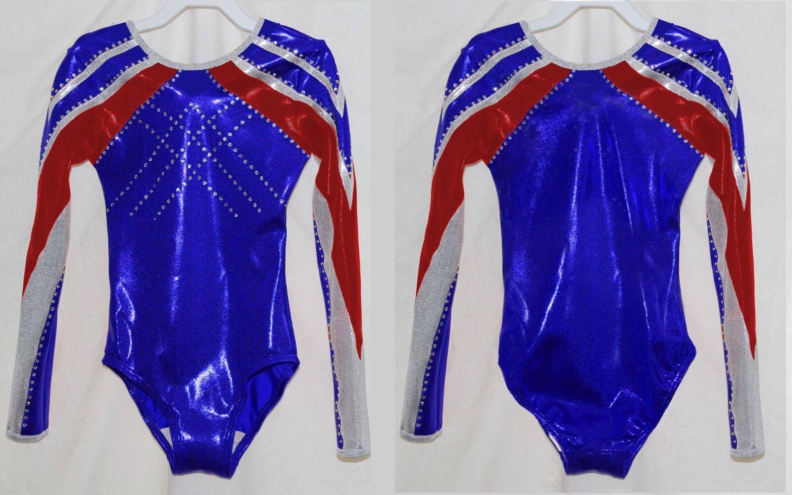 Scarlett  Girls L S Long sleeve competition gymnastics leotard Red White bluee
