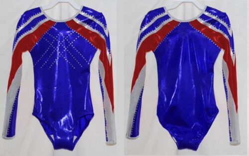 """Scarlett"" Girls LS Long sleeve competition gymnastics leotard RedWhiteBlue"