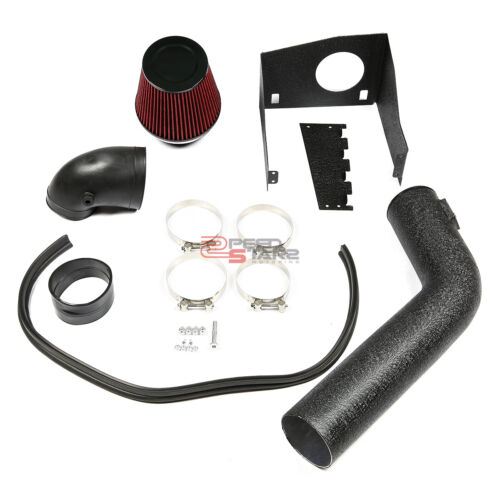 FOR 2009-2010 F150 5.4L V8 BLACK CRINKLE FINISH COLD AIR INTAKE PIPE+HEAT SHIELD