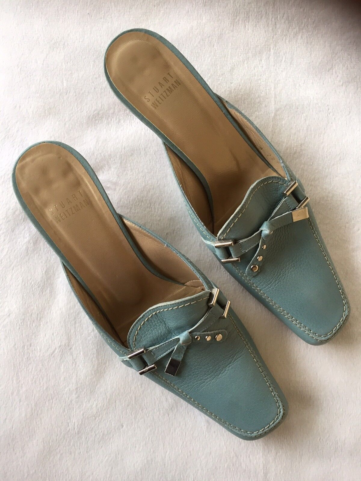 Stuart Weitzam bluee Leather Kitten Heel w  Tassel Toe Mules Size 7N