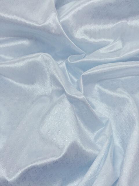 "PALE BLUE FAUX SILK DAMASK FABRIC 48""W WEDDING DRESS DRAPE SKIRT TABLECLOTH"