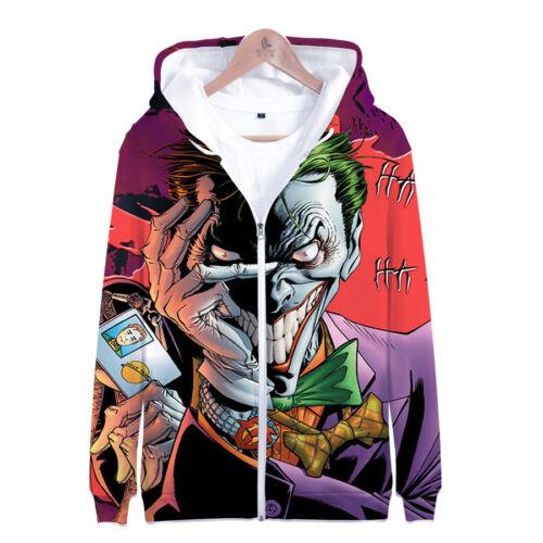 NEW Haha joker 3D Print zip Sweatshirt Hoodie Men and women Hip Hop Pullover Top