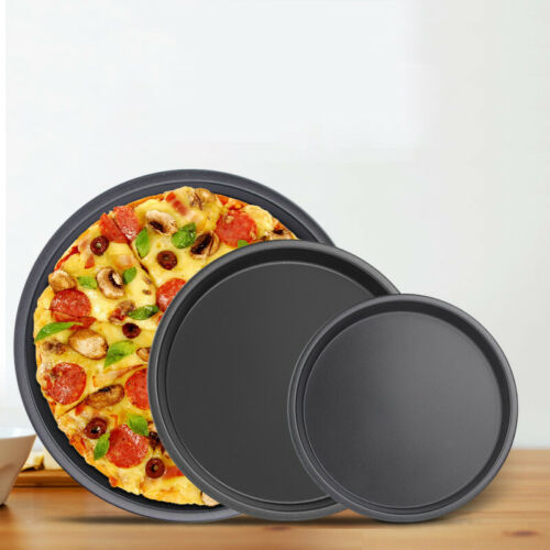 Carbon Steel Round Pizza Plate Pizza Pan Deep Dishes Tray Non-stick Baking Mould