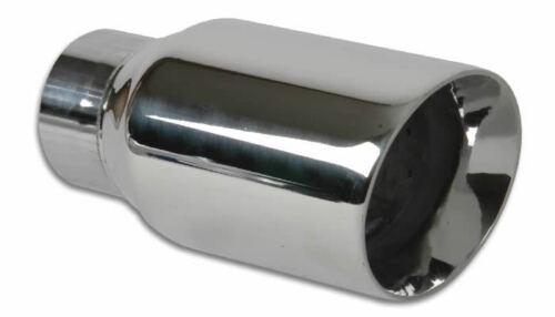 """Vibrant 3/"""" Round SS Exhaust Tip Double Wall Angle Cut Beveled Outlet # 1209"""