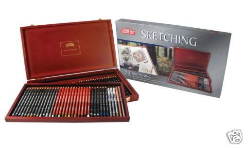 Derwent dessin crayons en 72 Boîte en crayons bois-style original avec ascenseur à plateau 609727