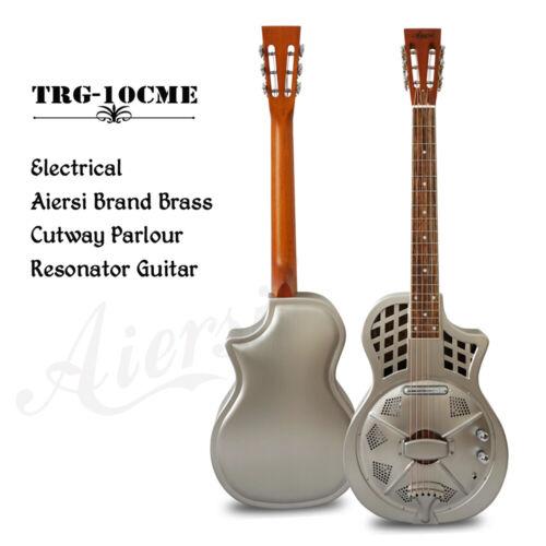 Aiersi Satin Chrome Finish Cutaway Electric Parlor Resonator Guitar