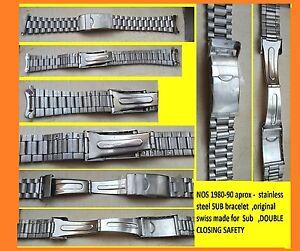 s-BRACELET-for-wristwatch-SUB-men-DEPLOJANT-2-sealed-x-lock-s-steel-1990-NOS