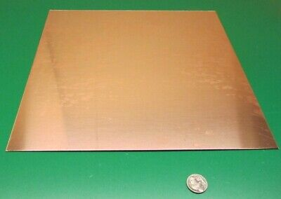 """110 Copper Sheet Soft Annealed  .062/"""" Thick x 6.0/"""" Wide x 6.0/""""  Length"""