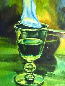 Watercolor-Painting-Absinthe-Drink-Cocktail-Glass-Fire-Bar-ACEO-Art-Auction