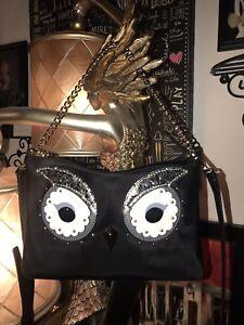 103f6c5abc88 Details about NWT!KATE SPADE Star Bright Owl Madelyne Handbag Crossbody  Black Nylon $249