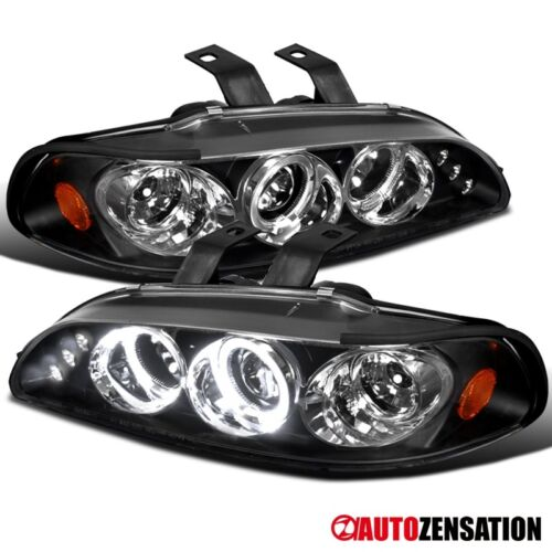 Fit 92-95 Honda Civic 2//3//4Dr Black LED DRL Halo Projector Headlights