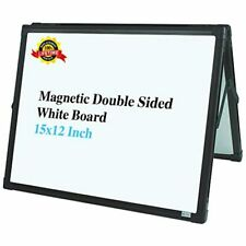 Lockways Small Dry Erase Board Foldable Magnetic White Double Sided Desktop 15 X