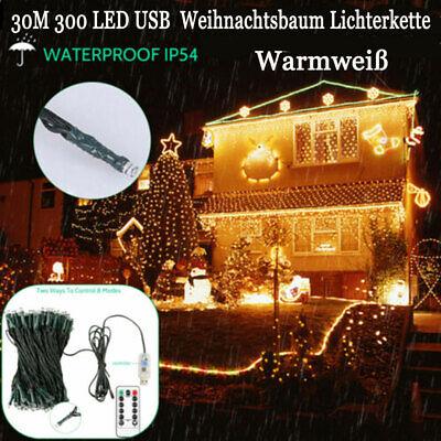 LED Lichterkette Konzerte Weihnachtsbeleuchtung Xmas Zimmer 300LEDs 30m Warmweiß