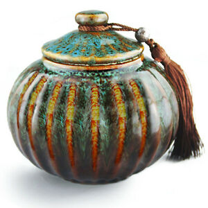 Orange and Blue Fambe Model, Medium Funeral Cremation Urn For Human Ashes Adult