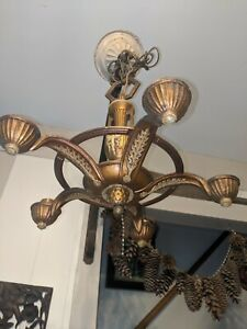 Antique Vintage 1930 S militaire? armée? torche avec ailes Art Deco Lustre 5 Lampes 1