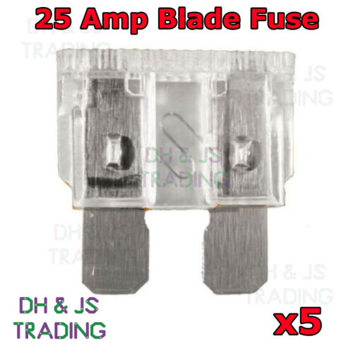 5x Clear 25A 25 Amp Standard ATO Blade fuse for 12V 24V Car Van Bike Auto