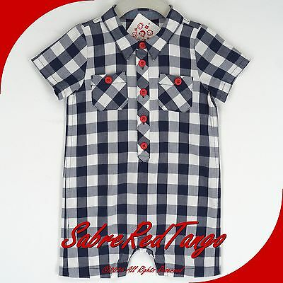 NWT HANNA ANDERSSON POPLIN CHECK ROMPER NAVY BLUE WHITE 90 3T 3