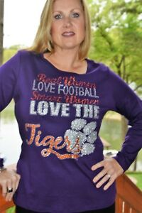 eb15a3efb Clemson Tigers rhinestone bling shirt XS-5X Licensed Real Women Love ...
