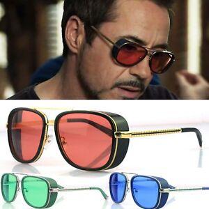 ca98345e Details about Mens Square Tony Stark Iron Men Sunglasses Retro Transparent  Lens