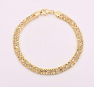 7-25-034-Diamond-Cut-Twisted-Singapore-Popcorn-Bracelet-Real-10K-Yellow-White-Gold