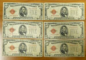 6 (SIX) 1928 $5 Five Dollars Red Seal  US Notes Bill Currency Paper Money