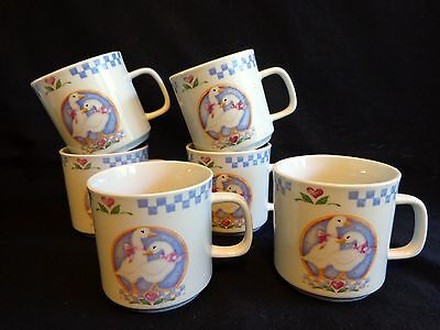 WHITE DUCKS GEESE MUGS Set of 6 Blue Pink Hearts Gibson Coffee Cup