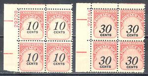 US-Stamp-L2242-Scott-J97-J98-Mint-NH-OG-Nice-Plate-Block-Postage-Due