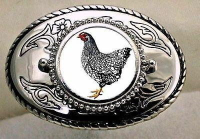 Wyandotte Silver-laced American Sebrig Chicken Cock Rooster Western Belt buckle