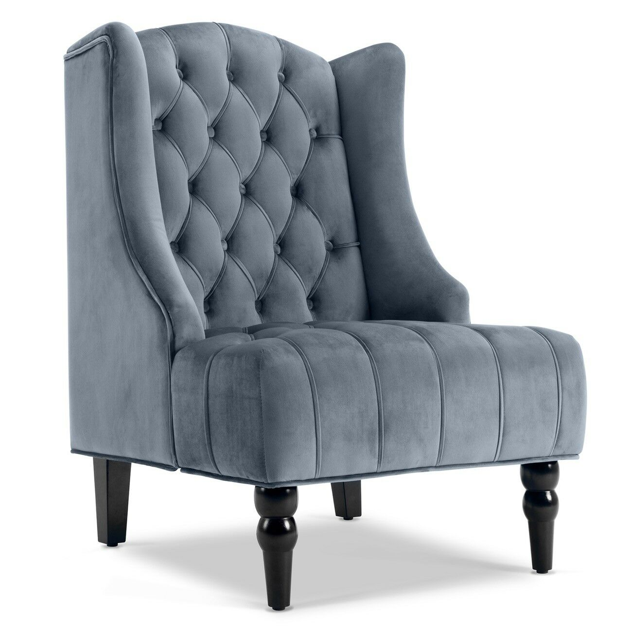 Modern Tall Wingback Tufted Accent Armchair Fabric Vintage Chair Nailhead Navy For Sale Online Ebay