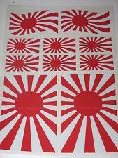 JAPANESE RISING SUN FLAG STICKERS SHEET SIZE 21cm x 14cm