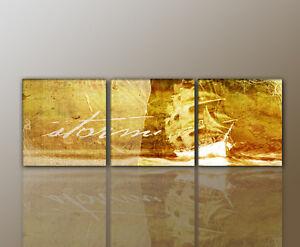 designbilder- wandbild modernes abstrakt schiff wohnzimmer - 160x50cm