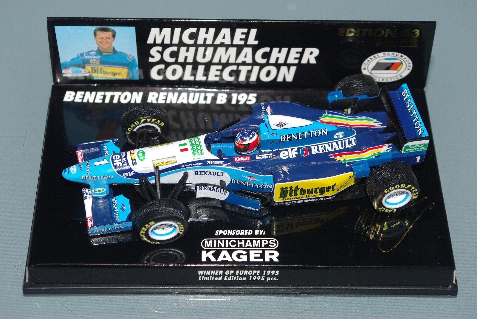 Minichamps F1 1 43 BENETTON RENAULT B195 SCHUMACHER WINNER EUROPE GP 1995 KAGER