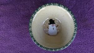 Vintage-Three-Rivers-Pottery-1994-Snowman-Bowl-Lynn-Handpainted-Holiday-7-034