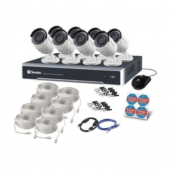 Swann Nvr 8000 4K Ultra HD Grabador de Vídeo rojo CCTV 4TB NHD-880 Bala Cámara