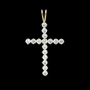 14K-Solid-Yellow-Gold-Cross-Pendant-0-80TCW-Brilliant-Created-Diamond-Charm-VVS1