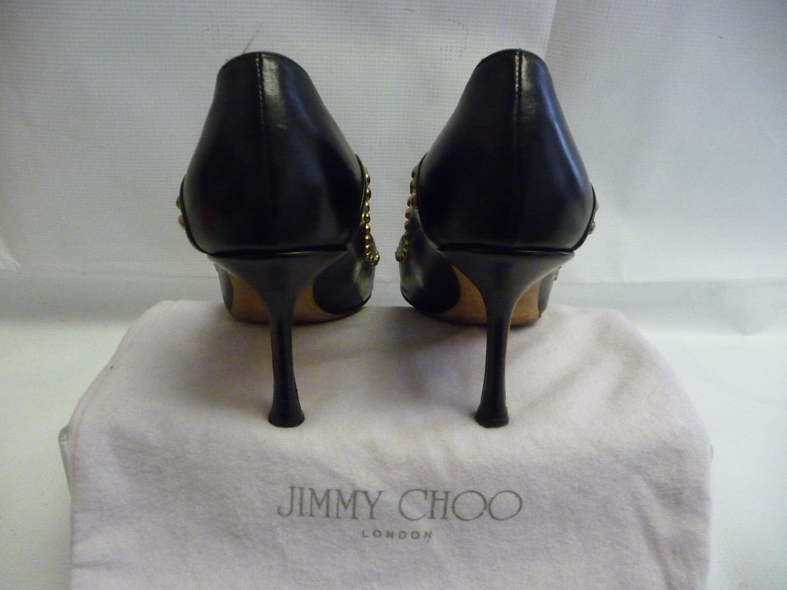 Jimmy Choo Boutique bombas bombas Boutique tamaño 39.5/9.5 Puntera De Punto De Cuero Negro Stiletto Italia 52caaa