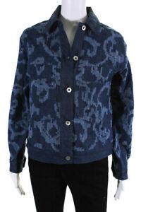 Rag & Bone Womens Jacquard Denim Jacket Blue Size Extra Small