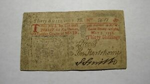 1758-Thirty-Shillings-New-Jersey-NJ-Colonial-Currency-Note-Bill-RARE-Issue