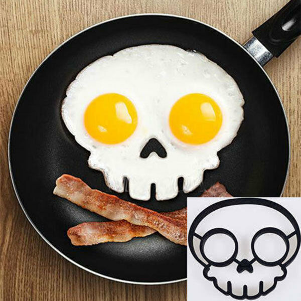 Silicone Breakfast Mold Ring Funny Side Up Skull Egg Fried Frying Mould 009H