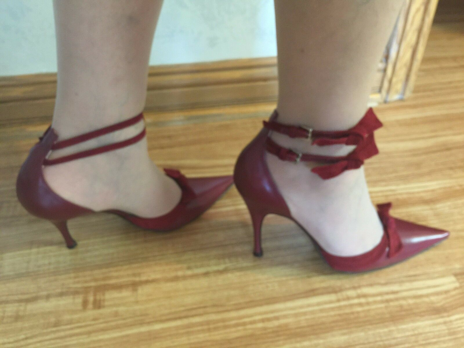 AUTHENTIC SERGIO ROSSI BURGUNDY LEATHER HEEL SHOES W/SWEIDE BOWS 38/8 B NEW