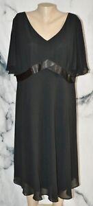 DANA KAY Black Flutter Sleeve Dress 18W Satin Trim Lined Party Cocktail