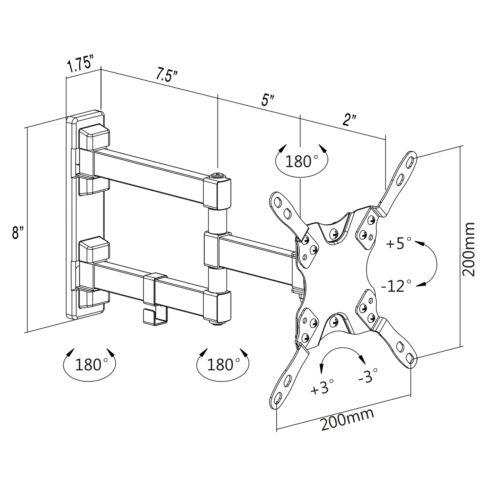 """Full Motion TV Wall Mount Tilt Swivel VESA 13/"""" to 42/"""" LCD LED Screen Stand"""
