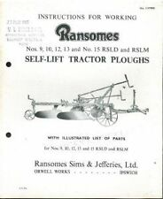 RANSOMES TRATTORE ARATRO nn. 9, 10, 12, 13 e n. 15 rsld & rslm operatori manuale
