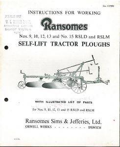 RANSOMES No 10 MULTITRAC TRACTOR PLOUGH OPERATORS MANUAL Tractor ...